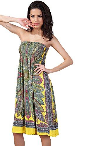 Shawhuaa Womens Bohemian Vintage Tube Dress Summer Casual Beachwear