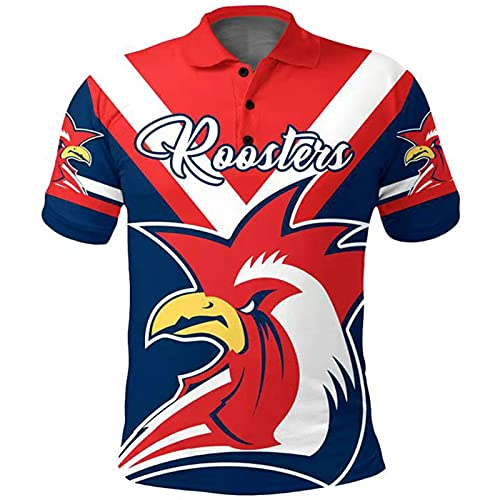 YAQA Camiseta De Rugby para Hombre, 2021 Sydney Roosters Rugby Jersey Football Shirt Sport Casual T-Shirt Top red-4XL