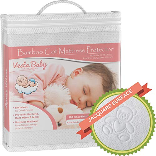Premium Cot Mattress Protector 60 x 120 cm Noiseless Waterproof Pad Cover Fitted Sheet Natural Bamboo Silent Topper for Infant and Toddler Cot Baby Bed