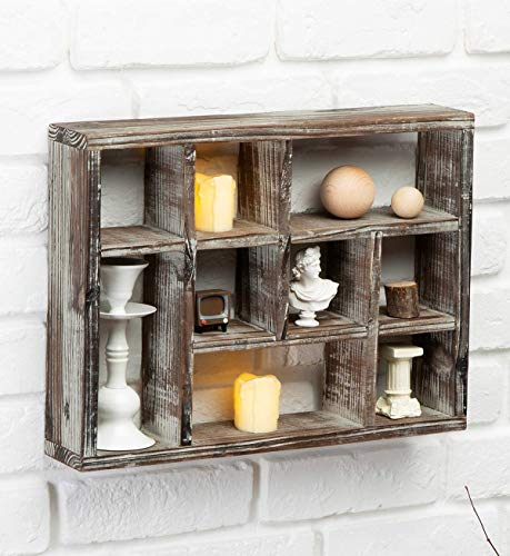 J JACKCUBE DESIGN Rustic Multi-Slot Shelf Cube Display 9 Compartment Shadow Box Wall mountable Shelf for Collection Square Freestanding Case Farmhouse Décor - MK570A (Rustic Wood)