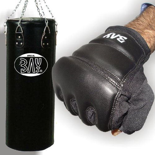 Bay® Boxset 130x35 cm, Sandsack+Handschuhe Touch schwarz Größe M, Boxhandschuhe, Sandsackhandschuhe, Gerätehandschuhe, Box Set, Boxsack, Kinder Kids Junior Senior Erwachsene Damen Herren