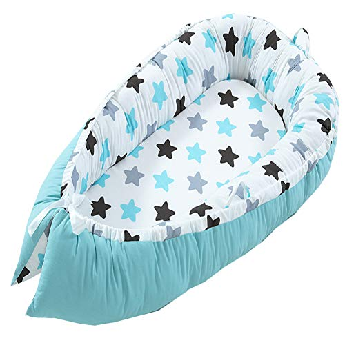 Sale!! Abreeze Baby Bassinet for Bed, Blue Star Baby Lounger,Baby Nest,Cotton Crib Breathable & Hypo...