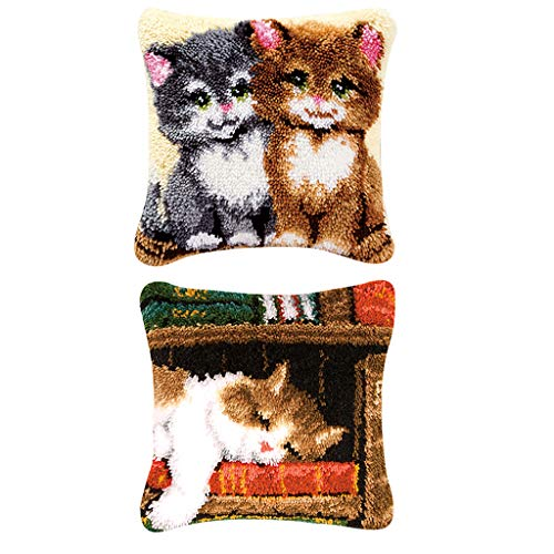 Dailymall 2 Kits de Hilo de Ganchillo, Kit de Gancho de Costura sin terminar, Alfombra de Ganchillo, cojín, Bordado, Alfombra (Gatos, 17 Pulgadas x 17 Pulgadas)