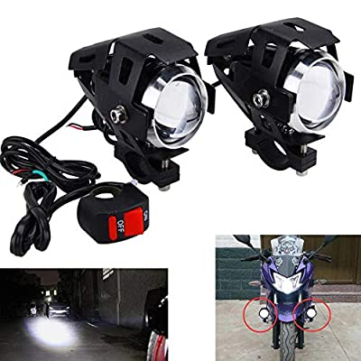 GOODKSSOP 2pcs Super Bright 3000LM CREE U5 125W LED Motorcycle Universal Headlight Work Light Driving Fog Spot Lamp Night Safety Headlamp + 1pcs Switch