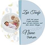 Decoración para tarta de bautizo azul niño con texto y foto comestible / 20 cm de diámetro