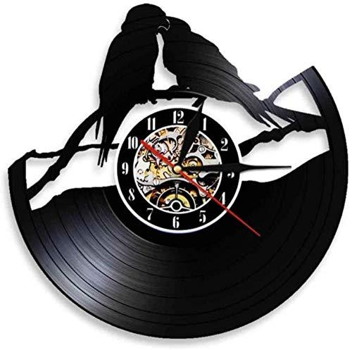 xiaoxong658 Wanduhr Papagei Zweig Vinyl Schallplatte Uhr Papagei Paar Vogelhaus Wand Art Deco Uhr Vogel Wanduhr Uhr Vogel Für Tierliebhaber 30 × 30Cm