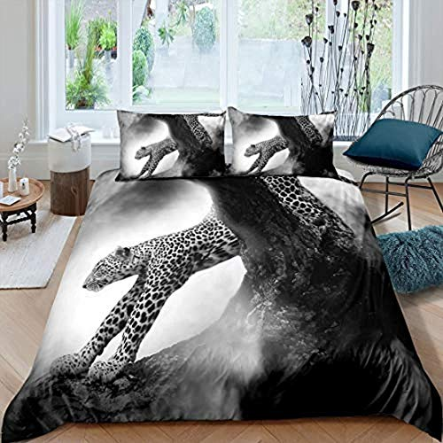 Bcooseso Home Textile 3D ( King size 220 x 230 cm ) Gray foggy forest animal leopard Print Bedding Set Children Cotton Cartoon Duvet Cover Sets Twin Full Queen King + 2 Pillowcase 50 X 75 cm