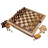 The folding game board made from solid wood, open dimensions: 16 x 15 3/4 x 1 1/8 inches, closed dimensions: 16 x 8 x 2.4 inches, Inlaid chess board dimensions 1 1/2 inch squares. Playing surfaces for chess, checkers, and backgammon game. Natural woo...