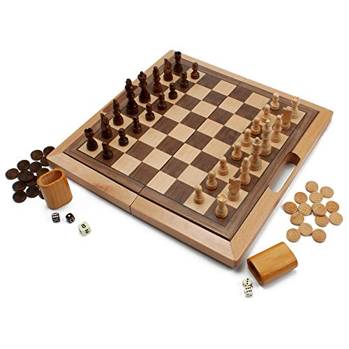 3-in-1 Wooden Folding Chess, Checkers and Backgammon Board Game Combo Set