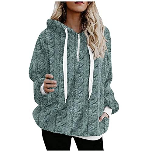 Sudadera con capucha para mujer, vintage, monocolor, forro polar, sudadera de gran tamaño, con cremallera, bolsillos y cordón ajustable, azul, XL