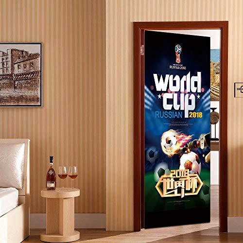 3D Tür Aufkleber Moderne Kunst Poster Wandbild, Fußball Der Gilde Tor Aufkleber Schlafzimmer Badezimmer Selbstklebende Abnehmbare Vinyl Tür Aufkleber, Inneneinrichtungen 30,3 X 78,7 Zoll