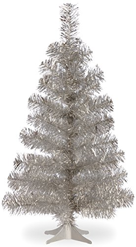 National Tree 3 Foot Silver Tinsel Tree with Plastic Stand (TT33-700-30-1)