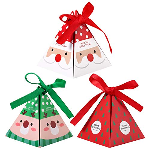 YeahiBaby 30PCS Christmas Paper Boxes Treats Candy Chocolate Goodies Boxes Christmas Party Supplies (Santa Claus, Elk, Christmas Tree)