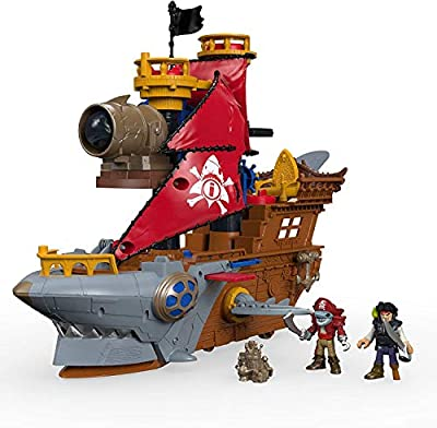 "Fisher-Price Imaginext Shark Bite Pirate Ship, Roll from one swashbuckling adventure to the next with this pirate ship playset featuring ""shark biting"" action, Multi-colored by Fisher Price"