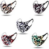 Lood Ship from USA 5pc Unisex Camouflage face Bandanas, Breathable Facial Scarf Reusable Face Fabric Washable Cotten Cloth for Home Office Work Outdoors