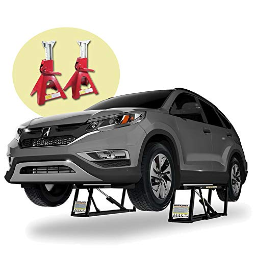 QuickJack BendPak Ranger 110V 7,000lb Portable Car Lift BL-7000SLX - Auto Repair - Bundle with Pair of 3-Ton Jack Stands
