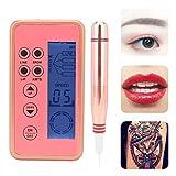 Maquina para Micropigmentacion, Kit de Tatuajes Completo Profesional, Ceja Eléctrica Maquillaje de Labios Máquina de Tatuaje Microblading Eye Line Tattoo Pen con Agujas