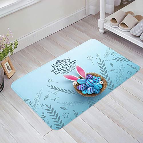 Alfombra estera del piso Tapetes Felpudo Huevos florales y oreja de conejo en el nido dentro de pequeñas plantas de Pascua con margaritas alfombras 40X60CM