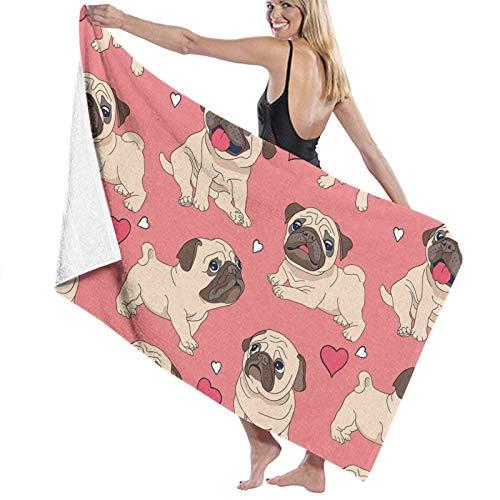 Toalla de baño con diseño de perro de Papá Noel con forma de corazón y perro de Pascua, ligera, grande, ultra absorbente, toalla de baño para playa, hogar, spa, piscina, gimnasio, viajes, 80 x 130 cm