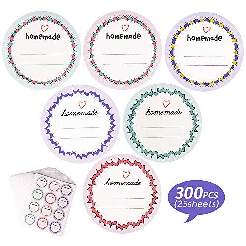 FLOFIA 300 Stück Etiketten Marmelade Aufkleber Homemade Marmeladenglas Sticker Einmachgläser Etiketten Selbstklebend Aufkleber Handmade Selbstgemachtes Einmachetiketten 40mm für Likör Küche