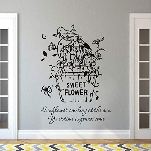 Sweet Flower Wall Decal Flowers Basket Inyl Wall Sticker Plant Pot Bird Wall Mural Home Bedroom Decor Flowers Vinyl Art Size 42 60Cm