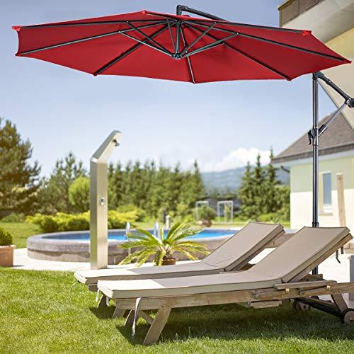 Patio Umbrella,Toolsempire10ft Cantilever Offset Umbrella Outdoor Market Hanging Umbrellas with Crank