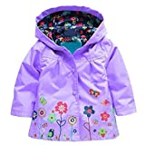 Arshiner Girl Baby Kid Waterproof Hooded Coat Jacket Outwear Raincoat Hoodies, Purple, 90(Age for 1-2T)