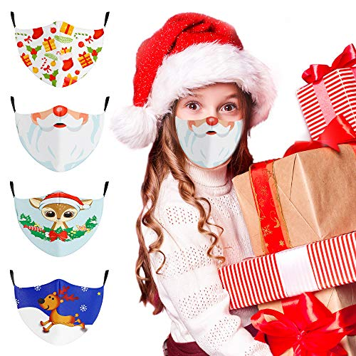 Christmas Face Mask Reusable for Kids Adults, Cloth Face Mask Washable with Filter Pocket, Adjustable with Ear Loops, for Children Indoor Outdoor, 4PCS
