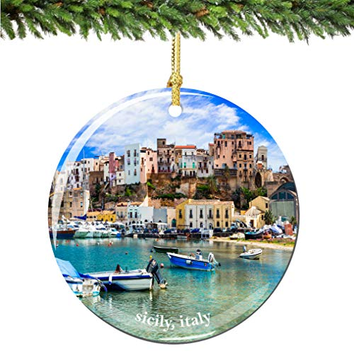 City-Souvenirs Sicily Italy Christmas Ornament Porcelain Double Sided 2.75 Inches