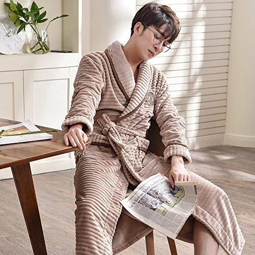 Nachthemd Für Männer,Einzigartige Herbst Winter Winter Pyjamas Dicke Flanell Langarm Nachthemd Nachtwäsche Weiche Bequeme Bademäntel Nachthemd Lose Schlafhemd,Khaki,3Xl