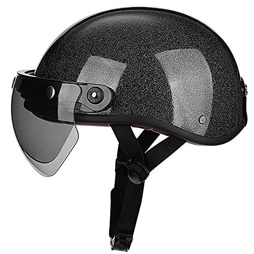 HZIH Cascos de Moto Half-Helmet para Hombres y Mujeres,Personalidad Retro Moda Motocicleta Casco De Seguridad con Gafas Protectoras,ECE Homologado,Four Seasons Universal Casco F,M=57~58cm