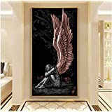 Angel and Devil Red Wings Girl Canvas Painting Poster Print Wall Art Picture Living Room Modern Home Decor 60x120cm Frameless