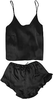 Hivot Women Sexy Lingerie Strap Lace Up Satin Silk Pajama Sets Babydoll Bodysuit Temptation Nightwear Set