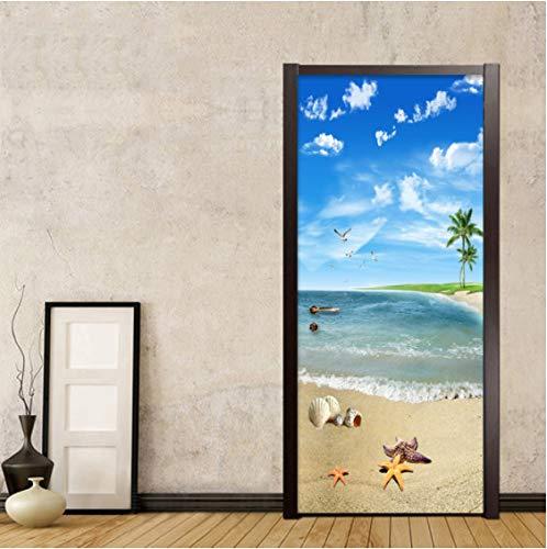 ZPCR Creative DIY 3D Wall Door Stickers Sea View 2 Pieces/Set Wallpaper Living Room Bathroom PVC Waterproof Self-Adhesive Door Decals