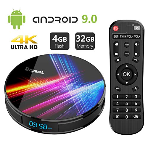 Android 9.0 TV Box 4GB RAM 32GB ROM, Bqeel R1 Pro Android TV Box RK3318 Quad-Core 64bits Dual-WiFi 2.4G/5.0G,3D Ultra HD 4K H.265 USB 3.0 BT 4.0 Smart TV Box