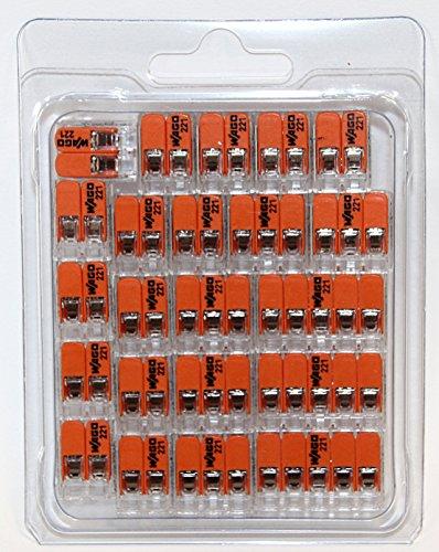 Wago 221 Klemmen SET 14x 221-412, 5x 221-413, 3x 221-415 | Kabel Verbinder in der wiederverschließbaren Box - Original WAGO