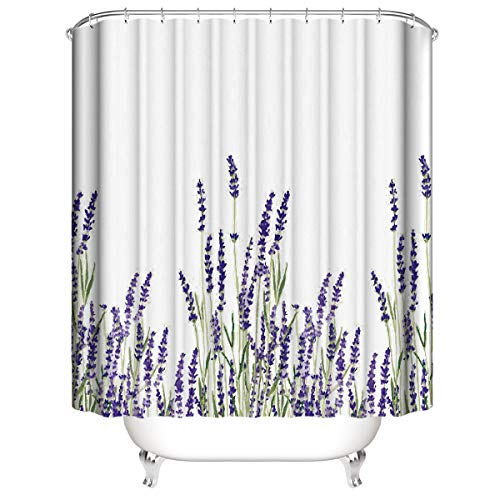 LLLTONG Wasserdichter Duschvorhang aus Polyestergewebe, Mehltau & antibakterielles 3D-Digitaldruckmuster Lavendel