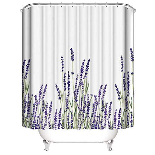 CELLYONE MEEKIS Lavendel Duschvorhang Polyesterfaser 3D Badvorhang wasserdichter Schimmel Vorhang