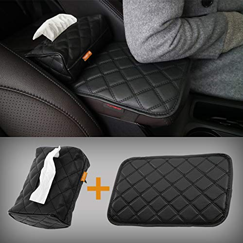 AMEIQ Car Armrest Cushion Pad, Tissue Holder and Paper Napkin Box, Center Console Mat, Seat Box Cover Protector, PU Leather Universal Fit, Black, Upgraded Style