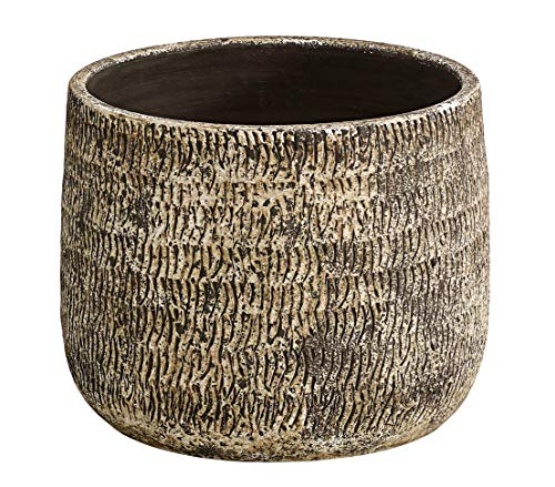 Dehner Übertopf Stef, Ø 24 cm, Höhe 19 cm, Keramik, braun