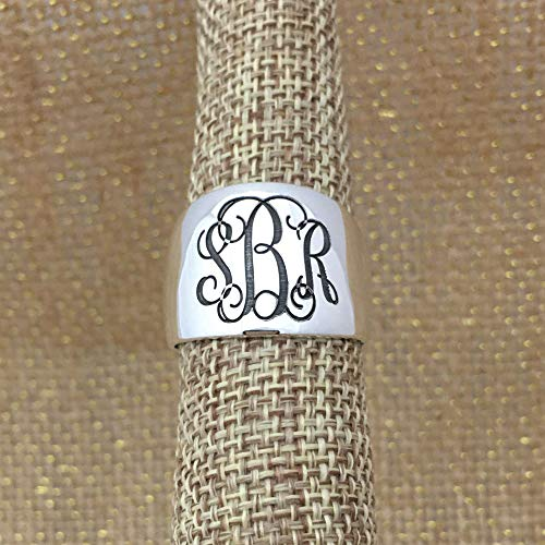 Personalized Monogram Sterling Silver Signet Dome Ring