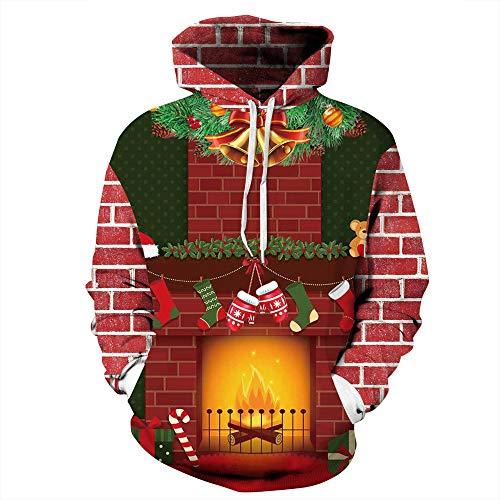DISCOUNTL - Calcetines de Navidad con estampado de parejas para otoo/invierno de manga larga, disfraz de bisbol de Navidad, sudadera con capucha para mujer 02. L