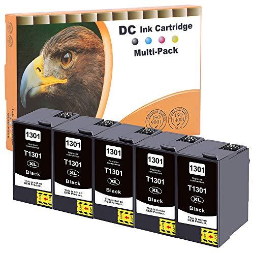 D&C Cartuchos de tinta compatibles con Epson 130XL T1301Epson Stylus B42WD BX-525WD BX-535WD BX-625FWD BX-630FW BX-635FWD BX-925FWD BX-935FWD SX-525WD SX-535WD SX-620FW WorkForce 525 630 5x Black