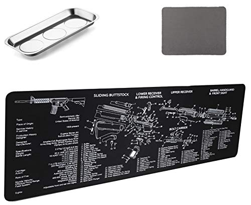 Gun Cleaning Mat Pad (36.2 by 12.2 inchs)- with Magnetic Screws Tools Parts and Cleaning Cloth for Handgun Rifle Cleaning-Non Slip and Solvent Resistant