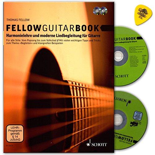 Fellow Guitar Book - Harmonielehre und moderne Liedbegleitung für Gitarre - für alle Stile: Vom Popsong bis zum Volkslied - mit allen wichtigen Tipps und Tricks - Lehrbuch mit CD, DVD, Dunlop Plek