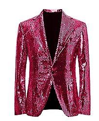 Rose Red/C Splendid Sequins Lapel Tuxedo Jacket