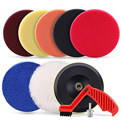 """SPTA 9pcs Polishing Pads Kit, 7 Inches Large Size Buffing Pads, Car Foam Buffing Sponge Pads Kit with 5/8""""-11 Drill Adapter for Car Care Polisher Boat Waxing Polishing Sealing Glaze"""