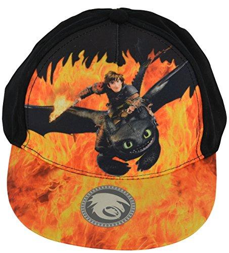 Dragons Casquette / Snapback Krokmou et Harold motif de flamme 54 cm