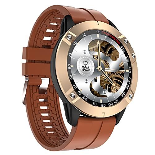 FMSBSC Smartwatch Reloj para Hombre con Llamada Bluetooth Pulsómetros Monitor De Sueño Música Bluetooth Presión Arterial, Pulsera Actividad Inteligente con 7 Modos Deportivos,Marrón