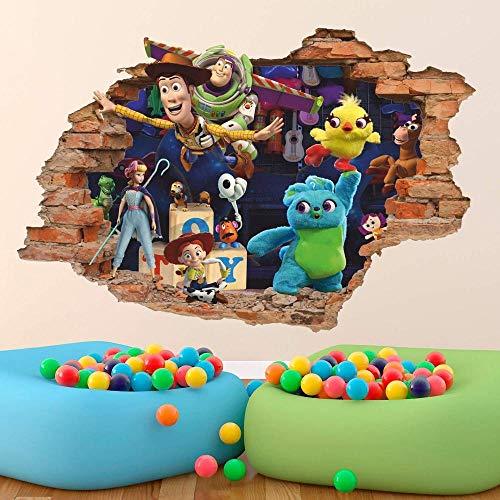 BAOWANG Stickers muraux Nouveau Toy Story 3D Sticker Mural Sticker Woody Buzz Lightyear Amovible Vinyle Autocollant...